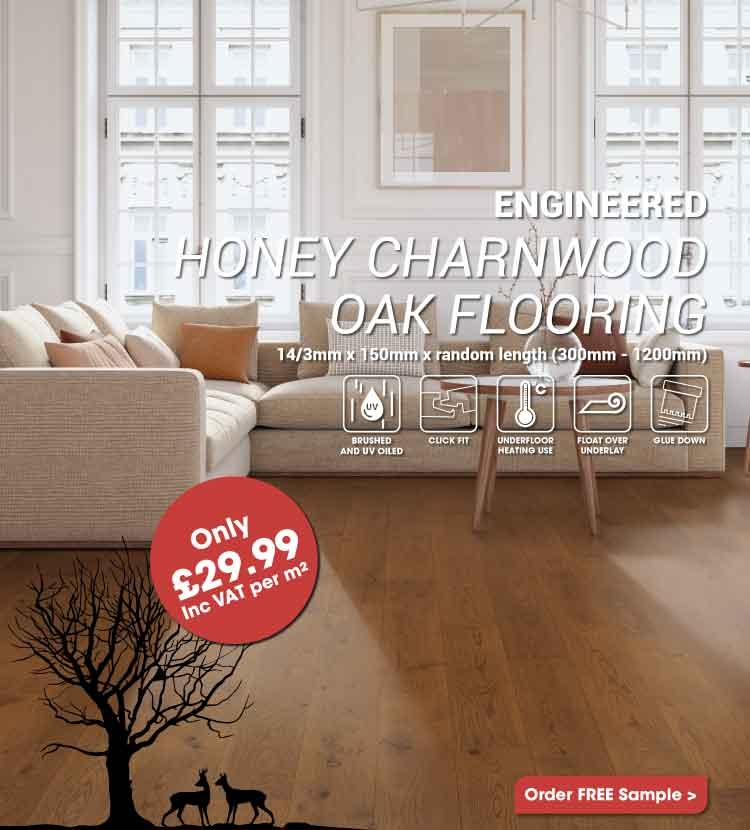 Engineered Honey Charnwood Oak Flooring Only £29.99m2