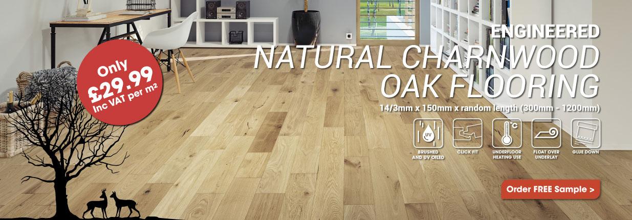 Engineered Light Natural Charnwood Oak Click Wood Flooring