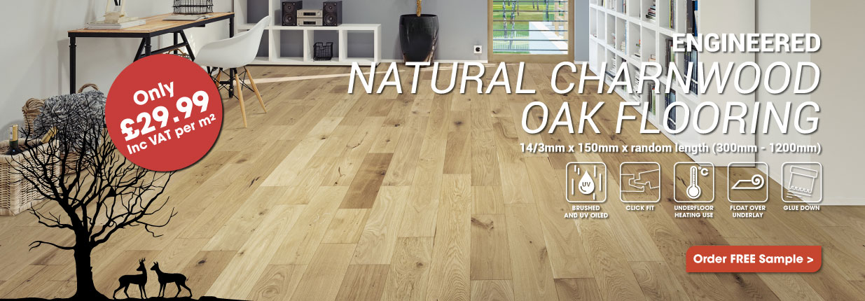 Engineered Medium Natural Charnwood Oak Click Wood Flooring