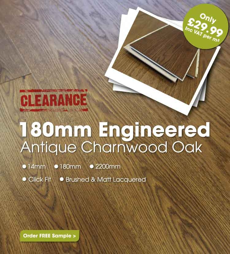 180mm Brushed & Matt Lacquered Engineered Antique Charnwood Oak