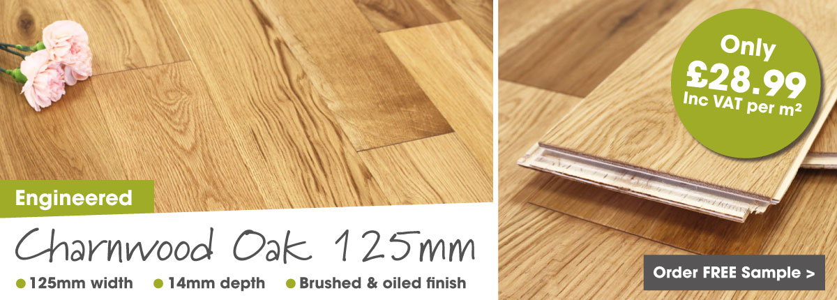 Engineered oak 125mm click wood flooring