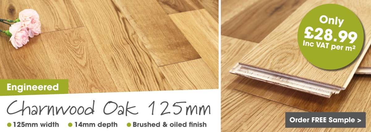 Engineered oak 125mm click wood flooring