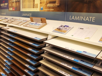 Quickstep laminate display stand close up Leicester