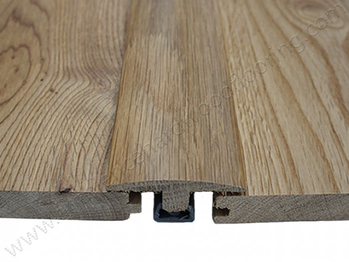 Expansion gap in wood flooring.