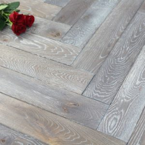 Grey Stained Oak Parquet Block Flooring