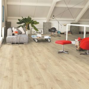 Oak flooring in a living space