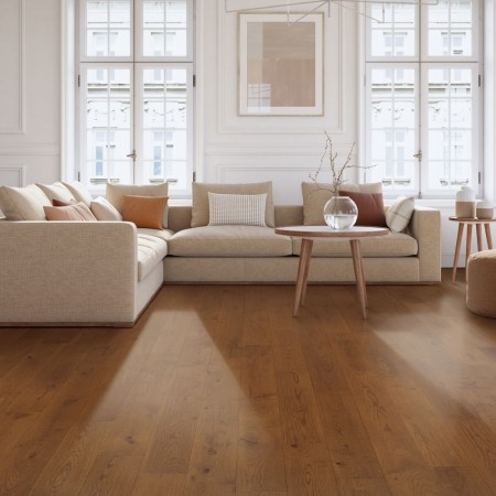 Caramel coloured wooden floor