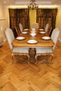 Oak Parquet Block Flooring in a Traditional Style Home